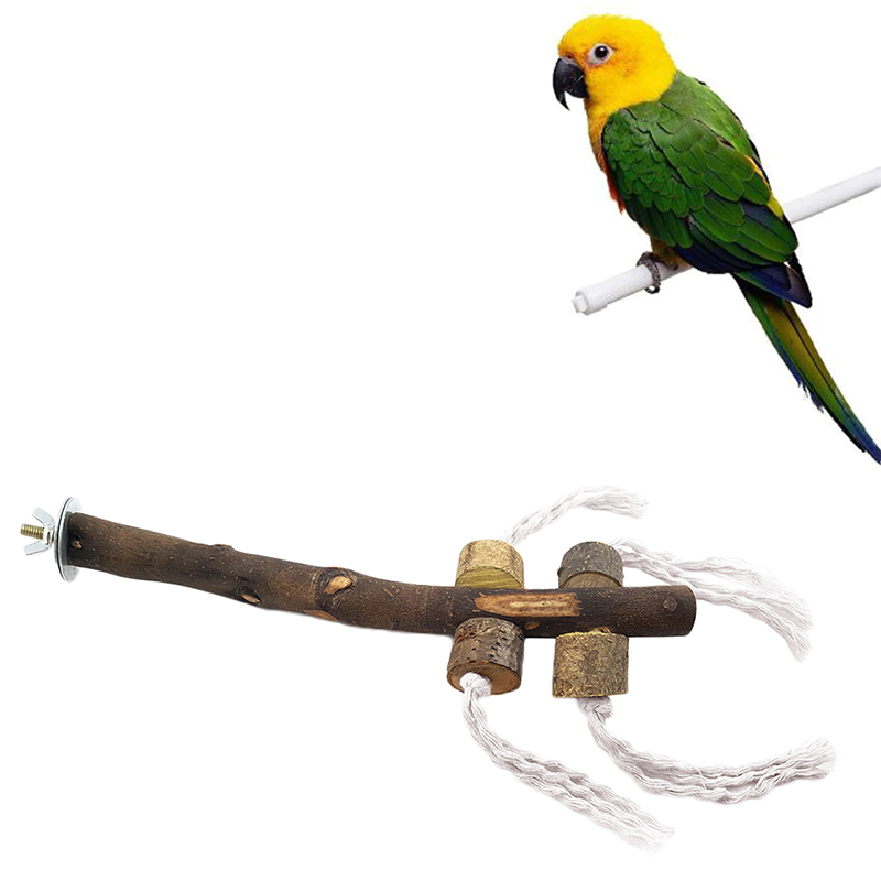 3 4 In Octagon Bird Toys : Bird hanging wooden rope scaffold toy cage accessory