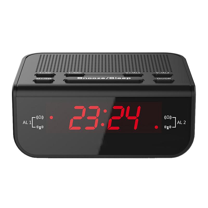 digital fm radio alarm clock with dual alarm snooze sleep. Black Bedroom Furniture Sets. Home Design Ideas