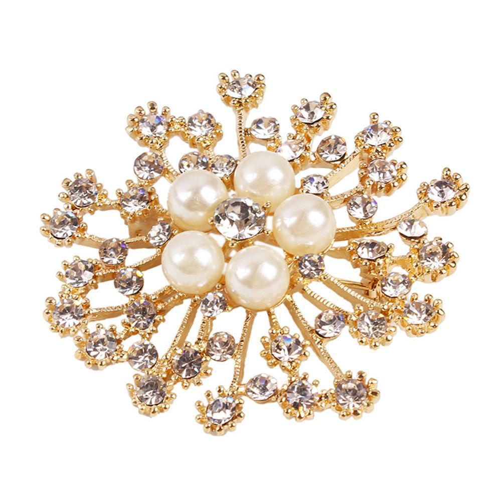 Crystal Wedding Gift: Wholesale Big Gold Rhinestone Crystal Brooch Pin Wedding