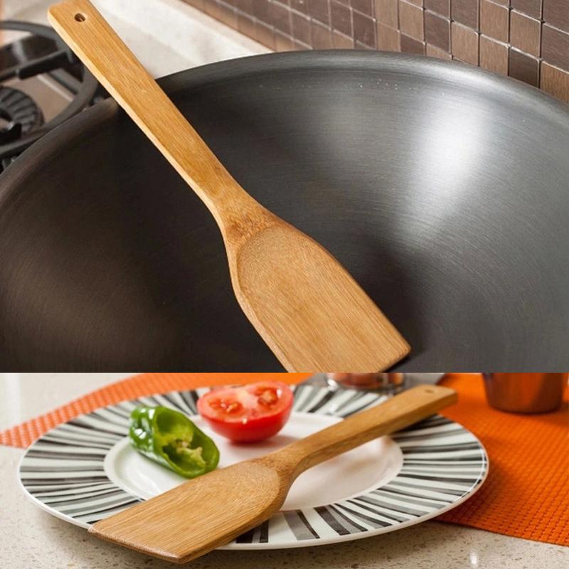 bambus spachtel scraper k che kochen werkzeug utensil handgefertigte spachtel de ebay. Black Bedroom Furniture Sets. Home Design Ideas