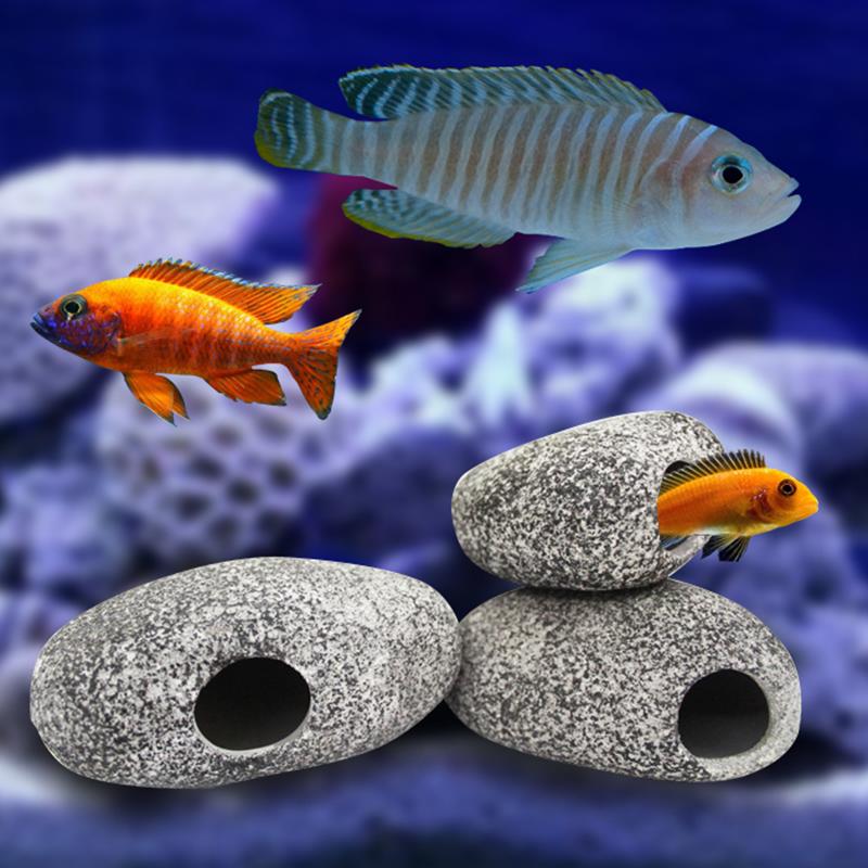 Ceramic rock cave ornament cichlid stones decoration for for Fish pond ornaments