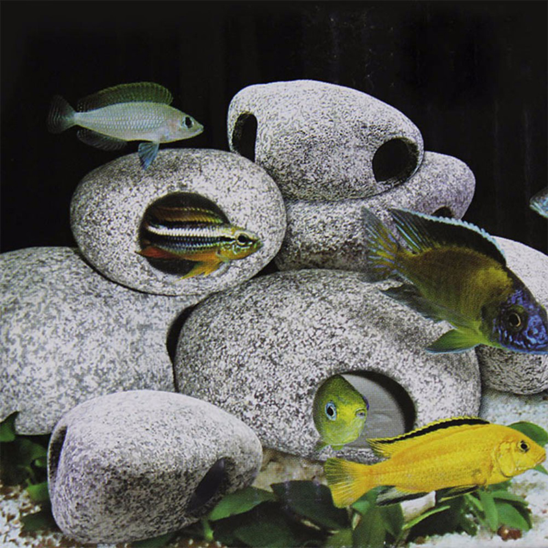 Ceramic rock cave ornament cichlid stones decoration for for African cichlid rock decoration