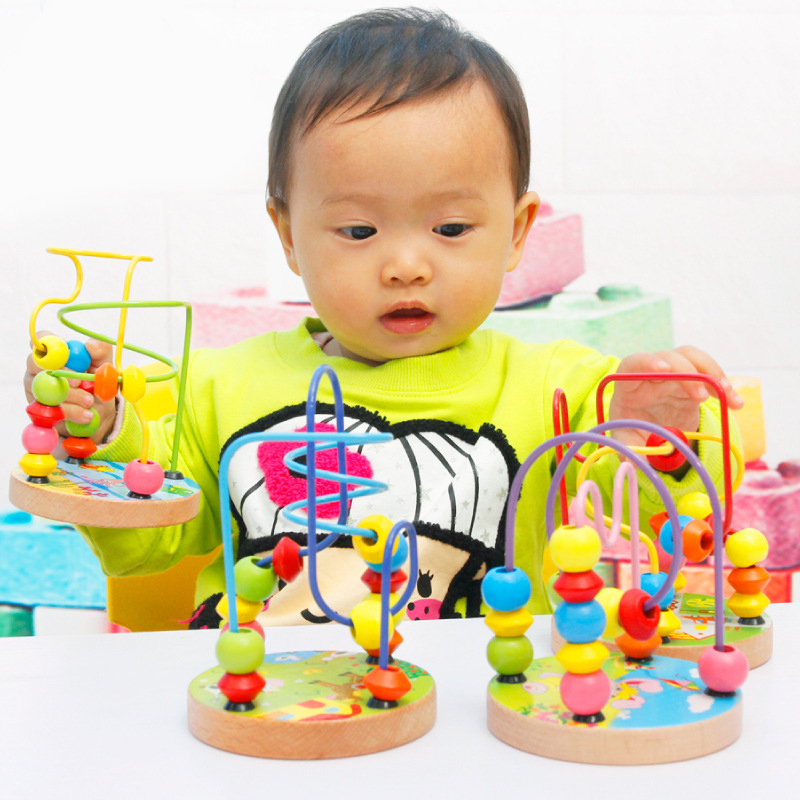 Toddler Educational Toys : Baby kids wooden around beads toddler infant intelligence