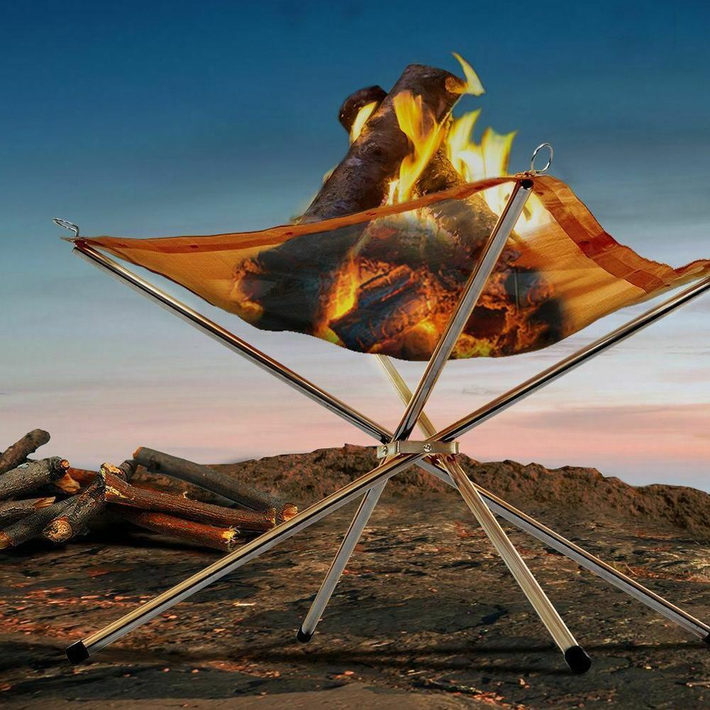 Portable Foldable Campfire Rack Outdoor Camping Burning Rack Fireplace Fire Pit