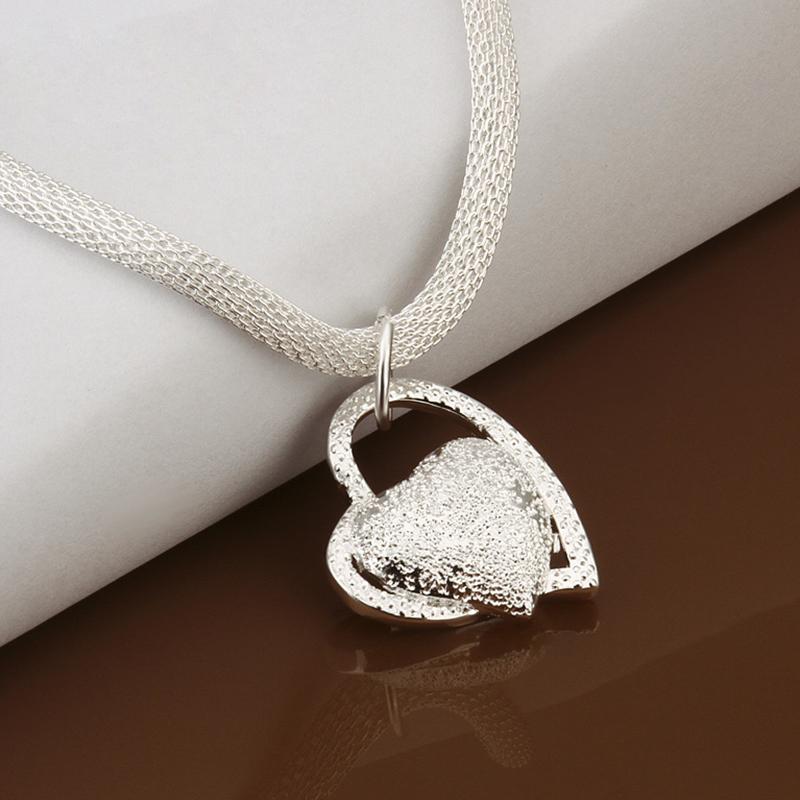 Mode Silber Doppel Herz Halskette Halsreif Damen Mädchen W6M7 Schmuck Heiß B8L5
