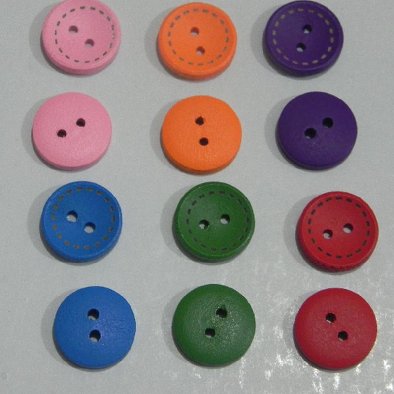 50 Zwei Löcher Holz Knopf Knöpfe Buttons Strauchpäonie 15mm DIY Basteln