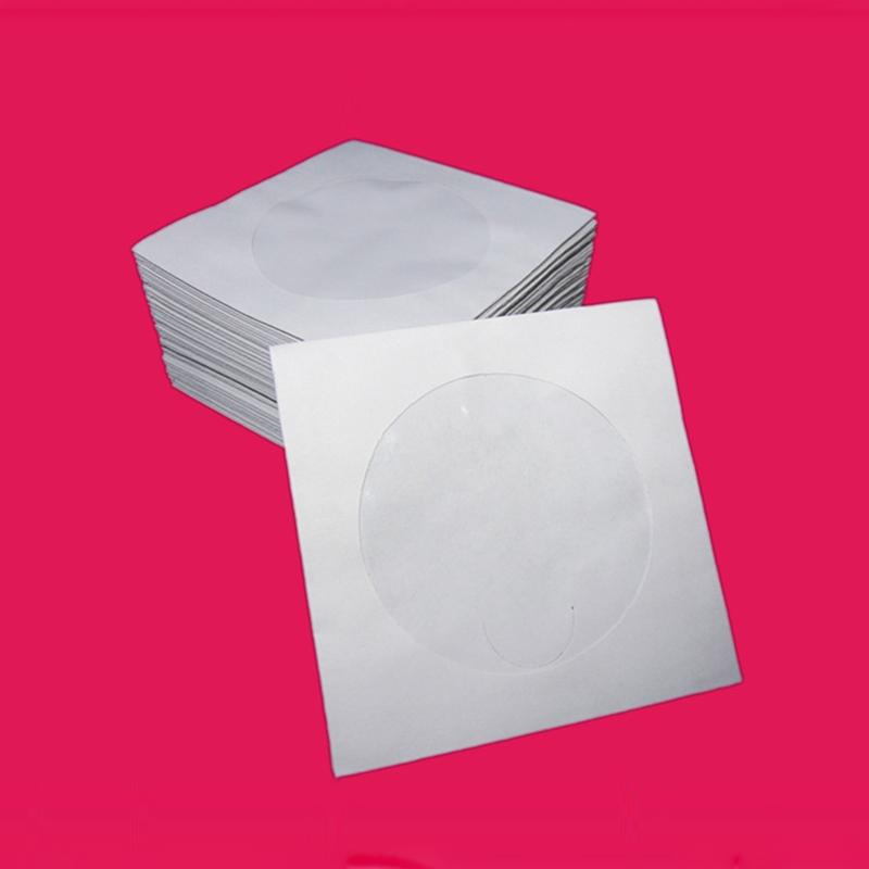 mini 100x disc cd white paper sleeves dvd cd