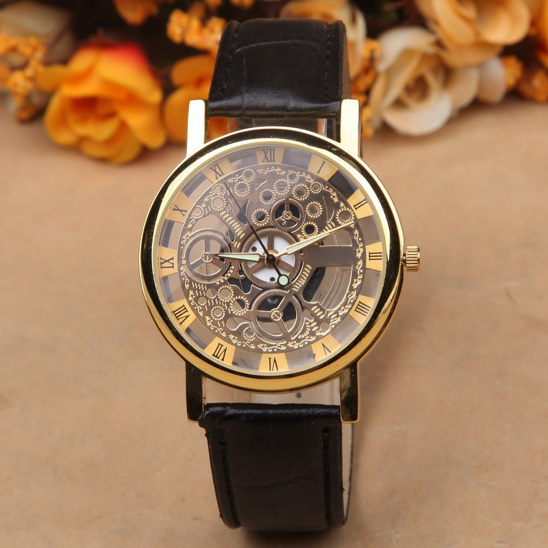men design watches case top strap brand golden wholesale leather casual shop luxury winner accessories skeleton transparent brown mechanical watch mens