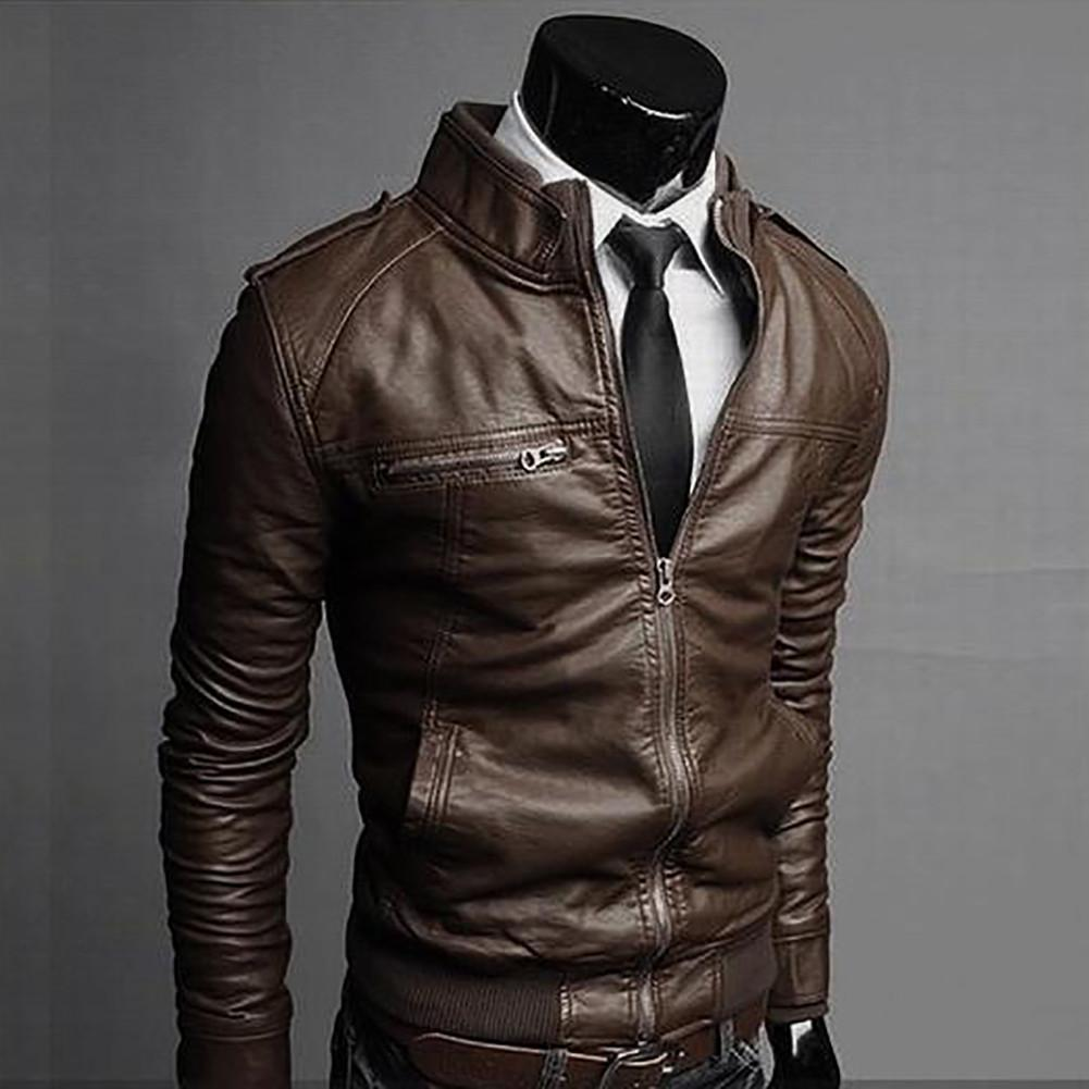New Men's fashion jackets collar Slim motorcycle leather jacket ...