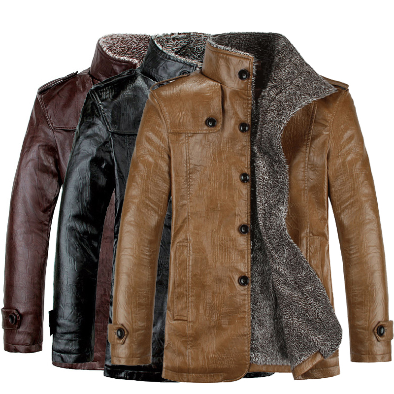 Fashion Men's Winter Jacket Leather Coat Fur Parka Fleece ...