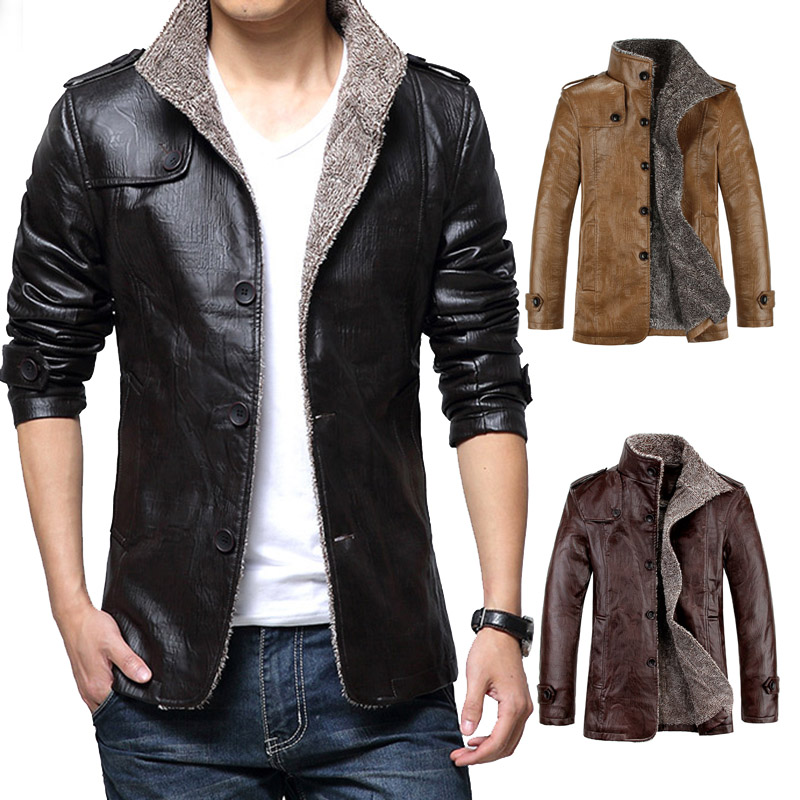 Fashion Men's Winter Jacket Leather Coat Fur Parka Fleece Jacket ...