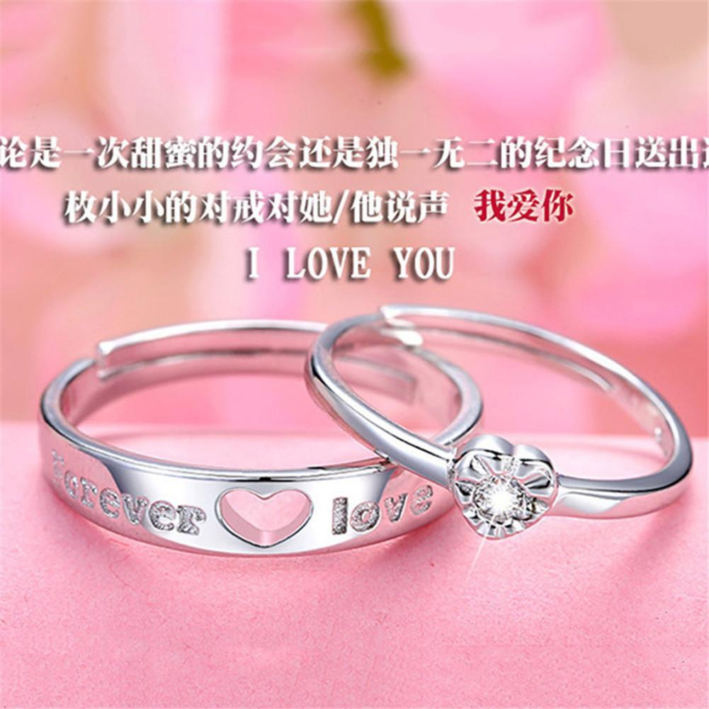 1 Pair Lovers Romantic Heart Crystal Couple Rings Her and His ...