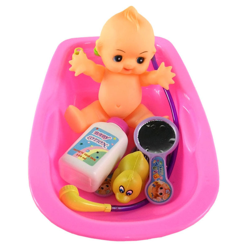 Baby Doll in Bath Tub with Duck and Shower Accessories Set Kid ...