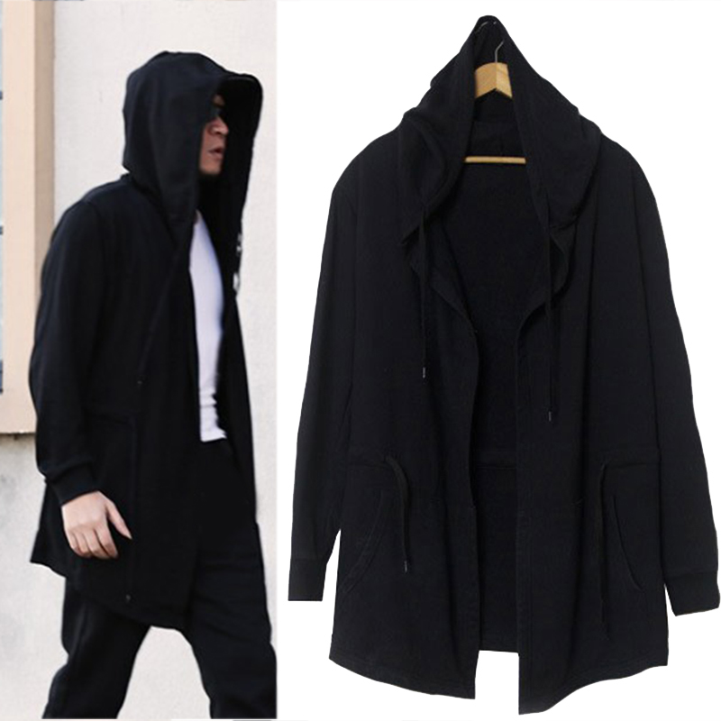 Men's Hooded sweater cardigan long black cloak cape coat Soul hip ...