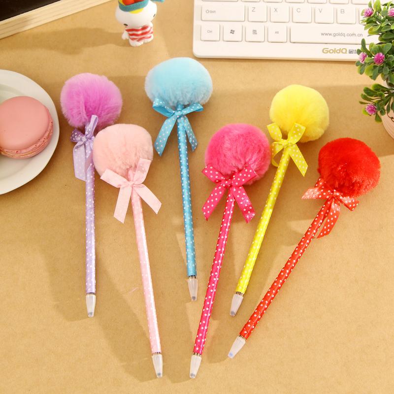 Novelty Plush Fuzzy Furry Ball Ball-point Pen Ballpoint Pen Stationery set