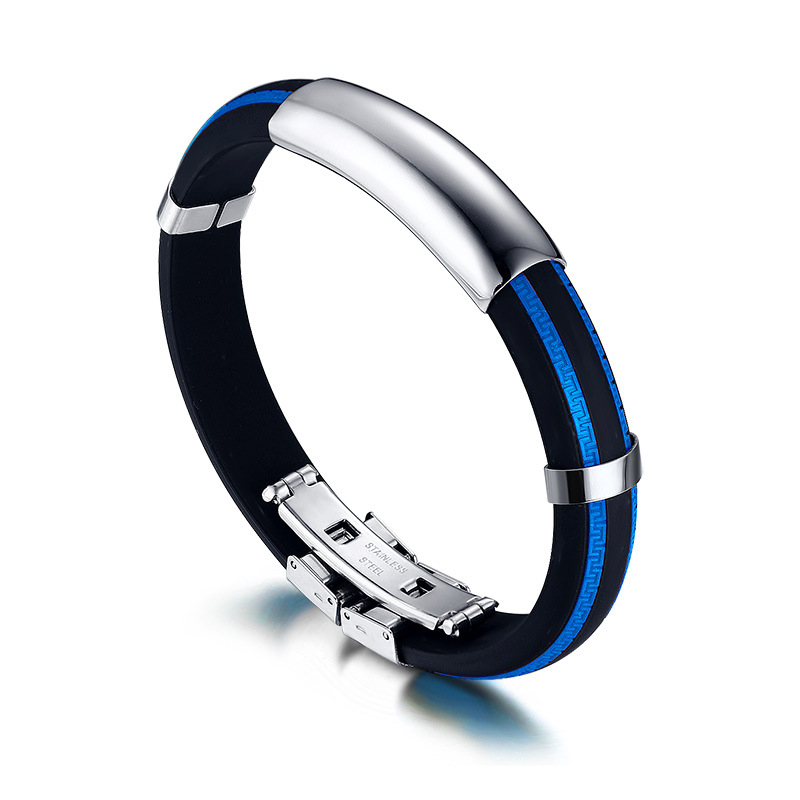 New Men S Stainless Steel Rubber Silicone Cuff Bangle Bracelet Wrap
