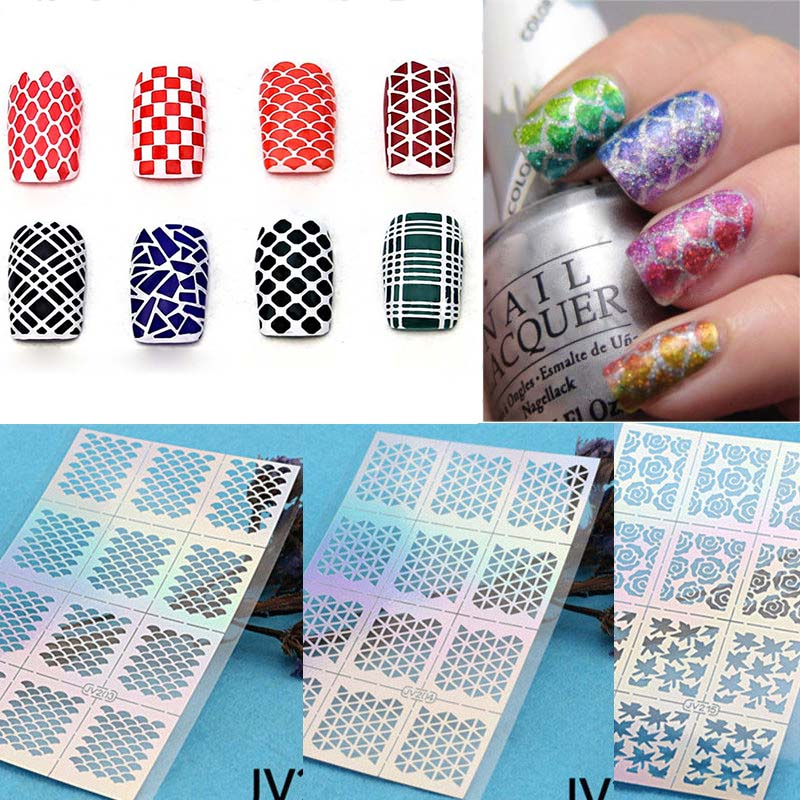 12 Tips / Sheet Nail Art Manicure Stencil Stickers Stamping Nail ...