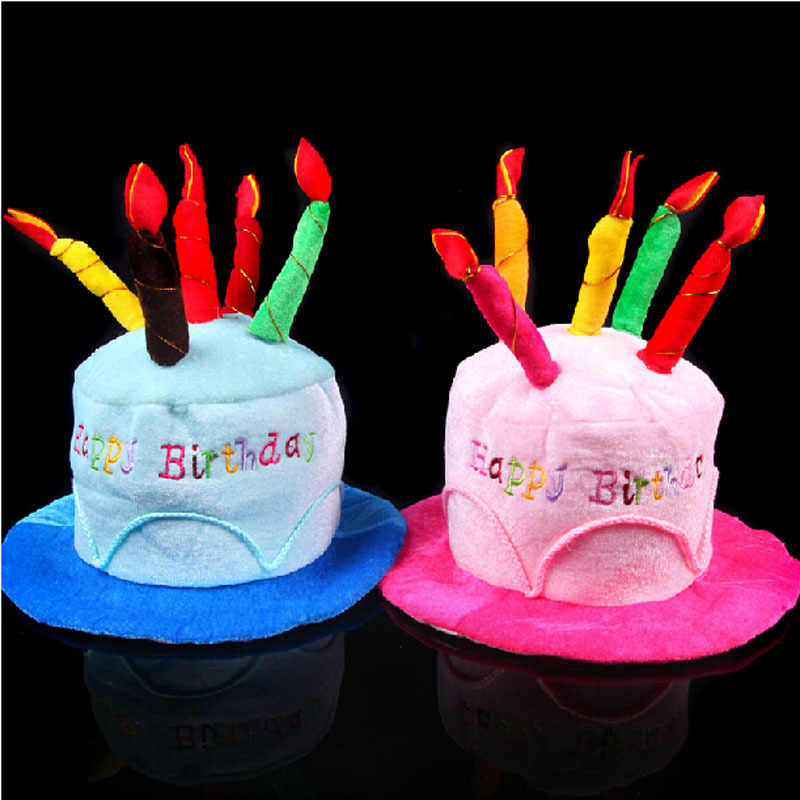 Details About Novelty Happy Birthday Cake Candle Funny Hat Plush Cap Party Costume Cosplay New