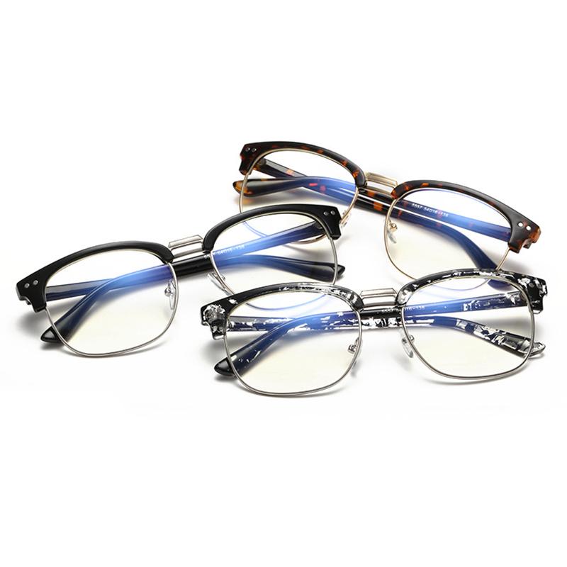 Unisex Klarsichtbrille Hälfte Umrandeten Brille ohne Stärke mit Glas
