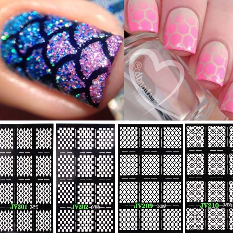 12 Tips Nail Art Vinyl Manicure Stencils Guide Roses Style Tip ...