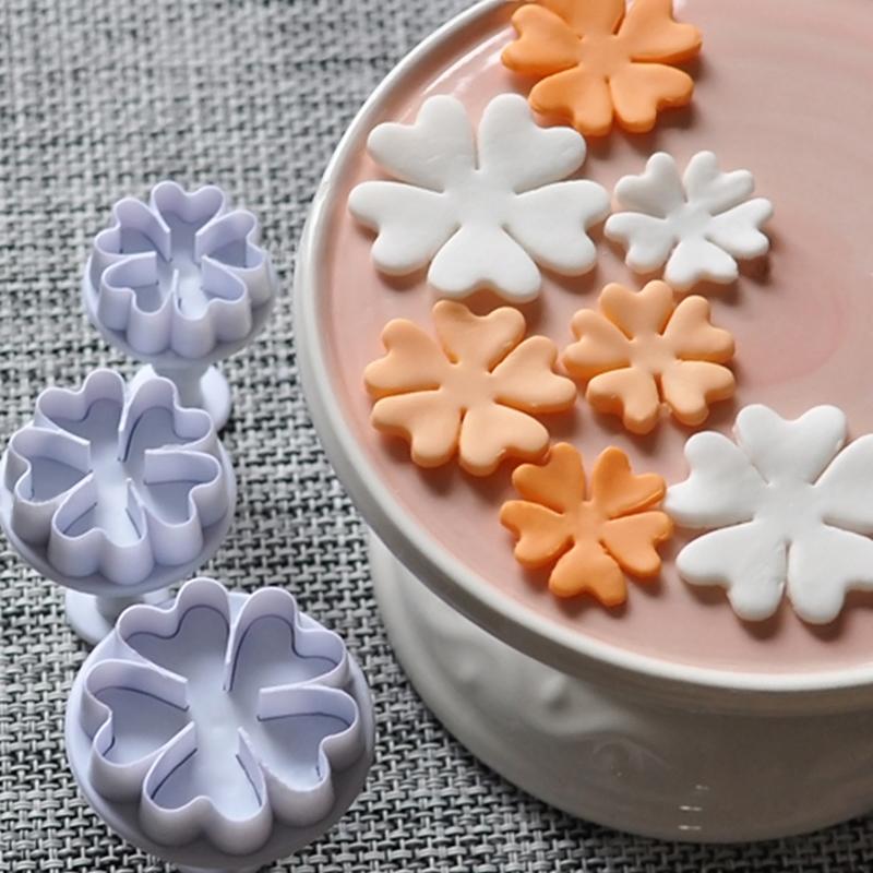 3Pcs Primrose Flower Plunger Cutters Fondant Cakeating Baking Tool