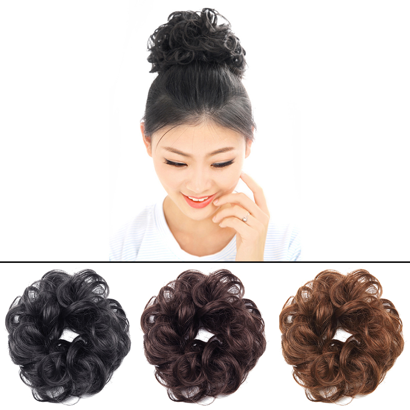 Ladies Curly Wavy Synthetic Bun Cover Hairpiece Clip In Scrunchie