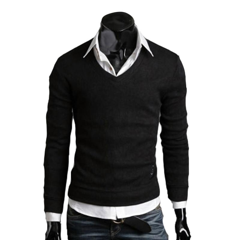 Mens Slim Fit V Neck Knitted Cardigan Pullover Jumper Sweater Tops