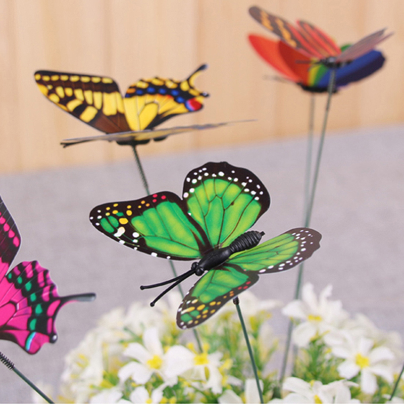 Details About 10pcs Garden Butterfly Plastic Butterflies On A Stick Plant  Flower Pot Vase Set
