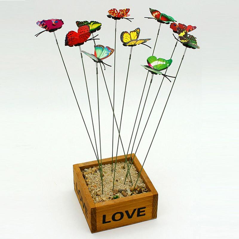 10pcs Garden Butterfly Plastic Butterflies On A Stick Plant Flower ...