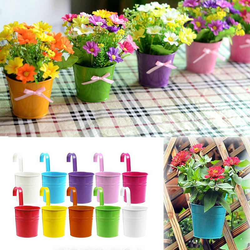 metal iron flower pots hanging balcony garden plant planter home