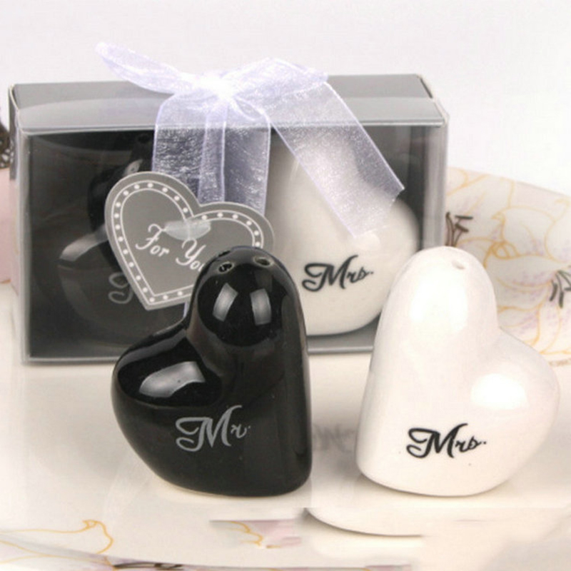 Heart Ceramic Mr And Mrs Pepper Shakers Canister Set Wedding