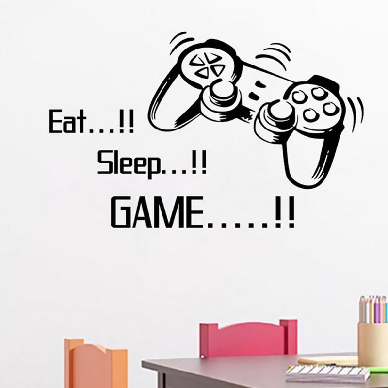 removable eat sleep game wall art gamer bedroom black decal wall