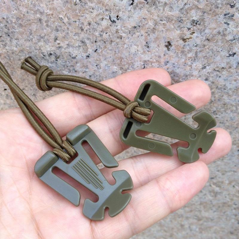 1pc Einfädeln Tactical Cord Clips Schnalle Elastische Spanngurt Karabiner N X7T6