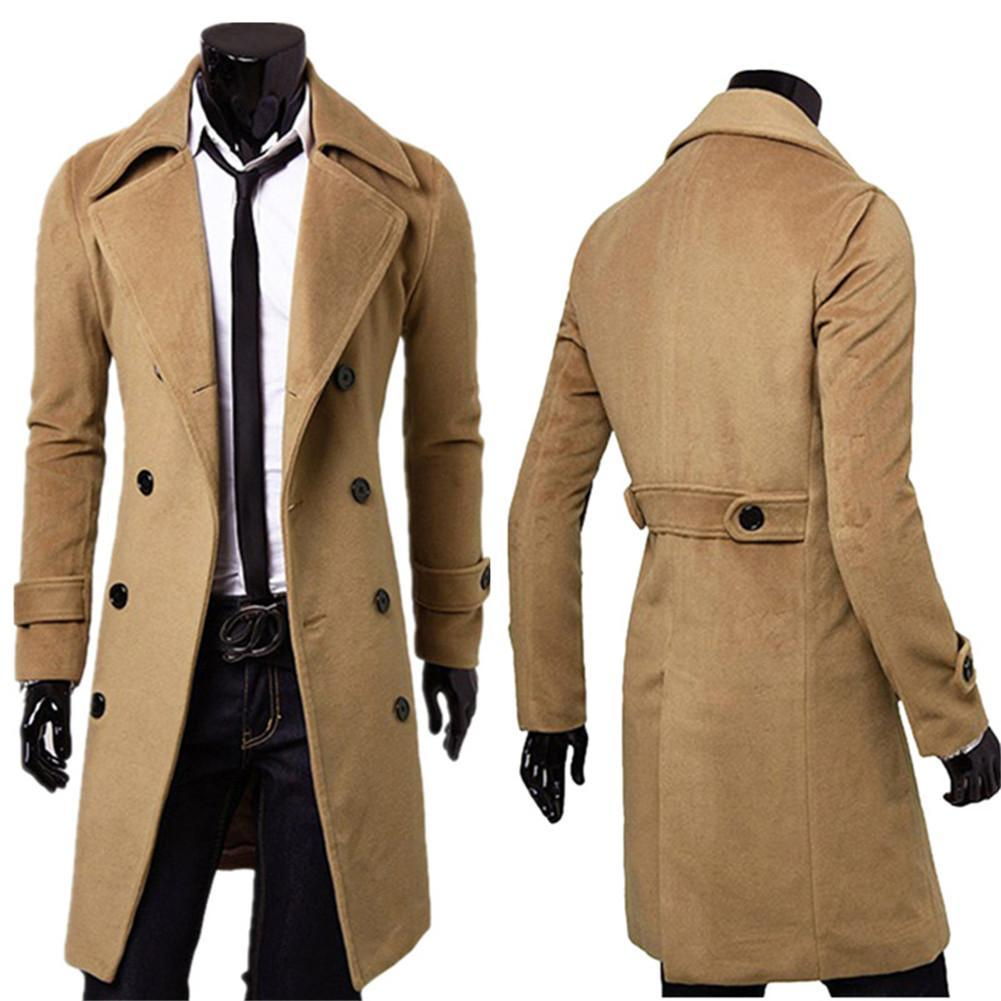 2016 Winter Mens Slim Stylish Trench Coat Double Breasted