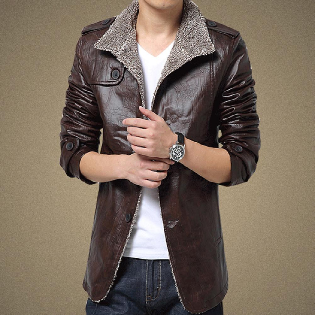 Winter Fashion Mens Warm Jacket Leather Coat Fur Parka Fleece ...