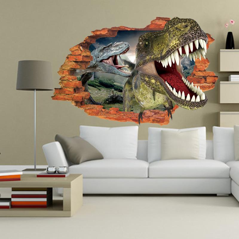 3D Two Dinosaurs Wall Sticker Decal Art Decor Vinyl Home ...