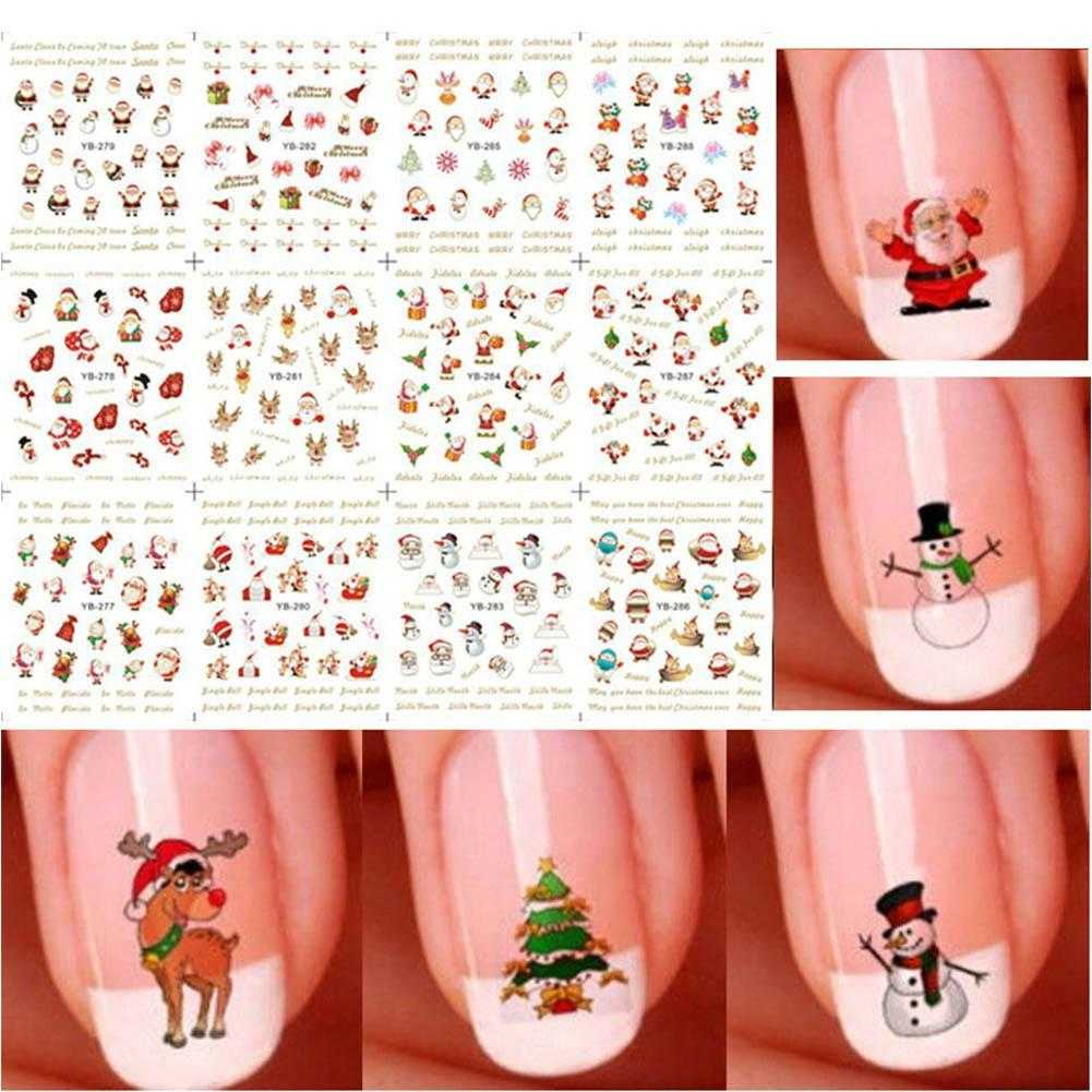 12 sheet 3d christmas nail art sticker snowflakes snowmen. Black Bedroom Furniture Sets. Home Design Ideas