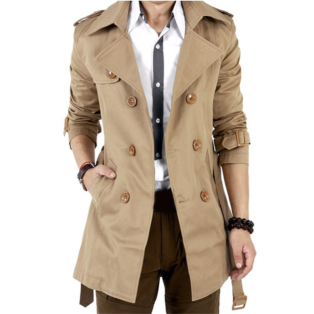 Mens Winter Warm Slim Trench Coat Double Breasted Overcoat Long Jacket Outwear