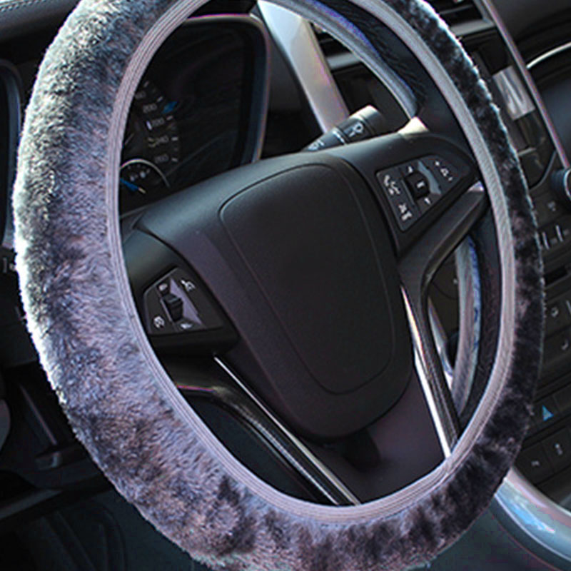 Black O9B4 Furry Fluffy Fur Plain Steering Wheel Car Cover Car Washable