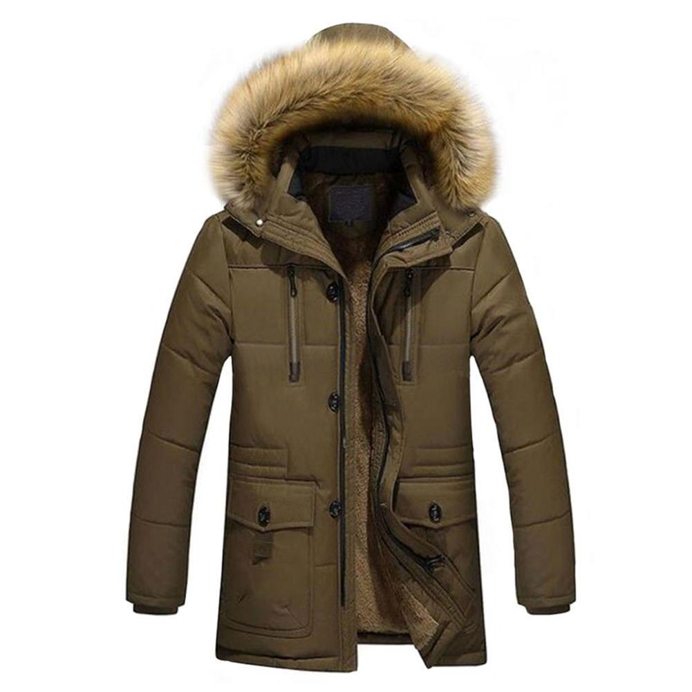 Mens Warm Down Cotton Jacket Fur Collar Thick Winter Coat Outwear ...