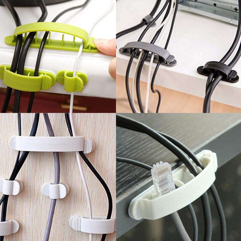 10x Cord Clips Linie Draht USB Ladegerät Kabelhalter Schreibtisch ...