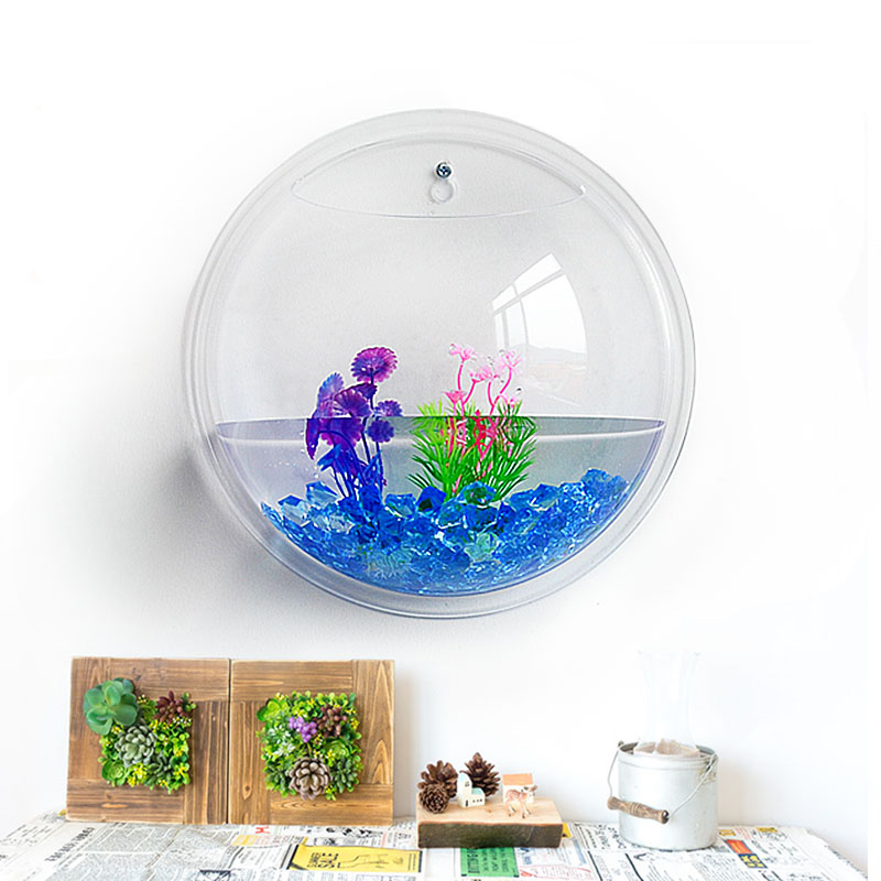 Wall Hanging Glass Fish Tank Mounted Home Decoration