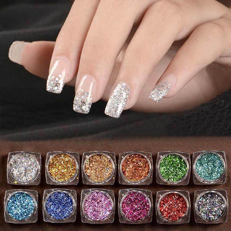 12 Mix Color Set Nail Art Glitter Powder Dust For UV GEL Acrylic ...
