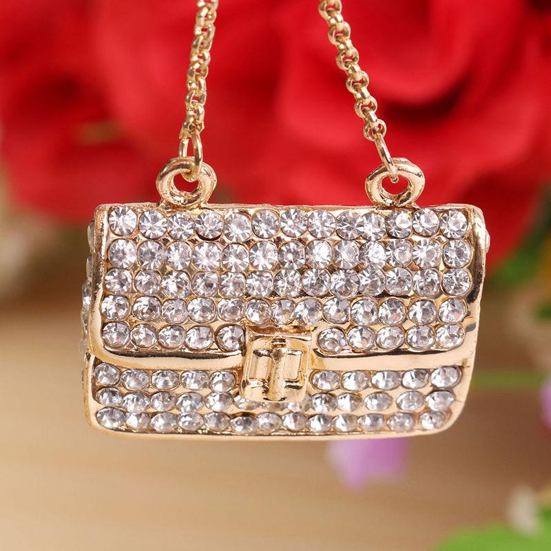 Crystal Rhinestone Keyring Charm Pendant Purse Bag Key Ring Chain T8Z9