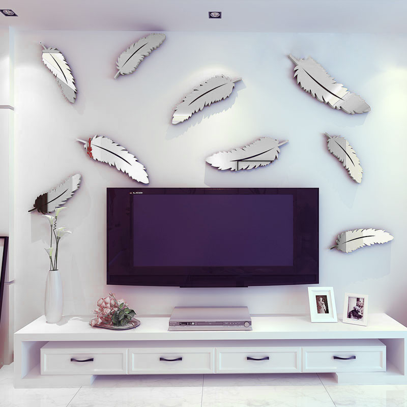 8pcs silver feather 3d mirror wall art stickers decal home for Silver bedroom wall art