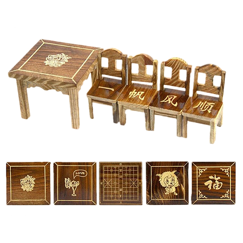 Mini dining room wooden dollhouse miniature furniture 1 table 4 chairs set toy ebay - Dollhouse dining room furniture ...