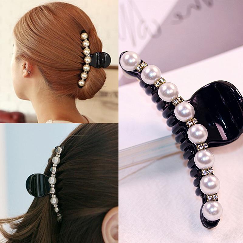 Korean Women Pearl Hairpins Rhinestone Hair Clips Headwear Shell Conch Hairgrip