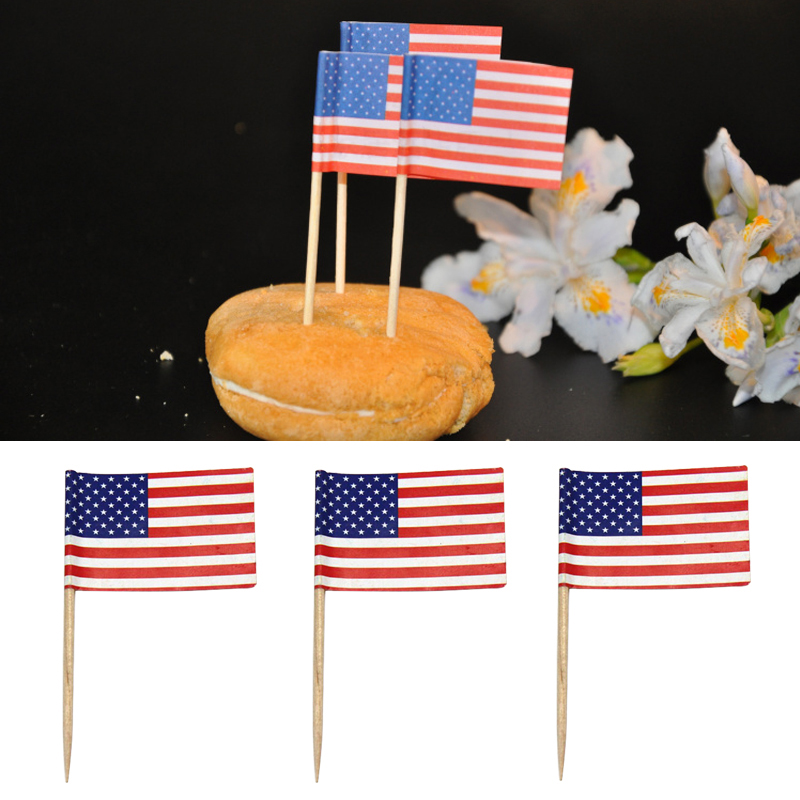 Cake Decoration Sticks : 100X Party American USA Flag Cocktail Cupcake Food Picks Sticks Cake Decoration eBay