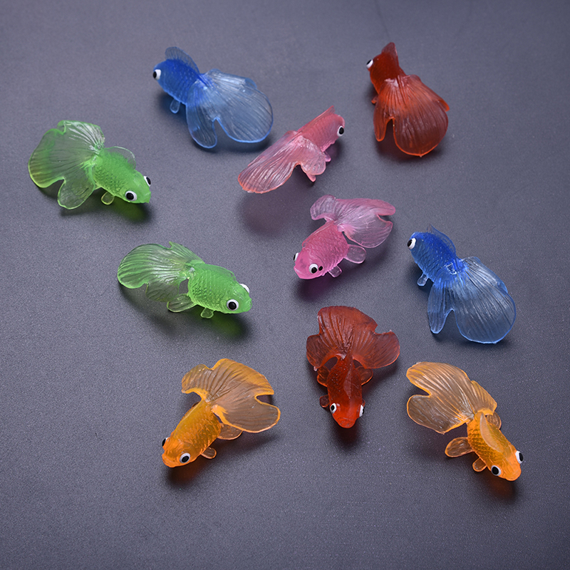 10pcs plastic simulation small goldfish soft rubber for Rubber fish toy