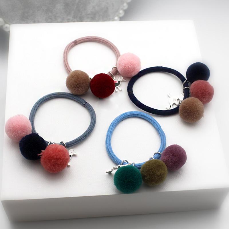 Women's Soft Furry Hair Ties Fur Balls Elastic Rope Pom ...